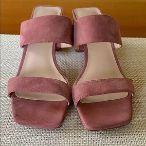 Blush Pink Suede Block Heel Sandals